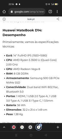 Vendo  computador portátil Huawei Matebook D 14. NOVO