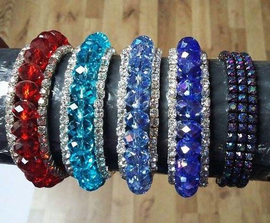 Biżuteria, bransoletka z diamencikami i perełkami dużo wzorów