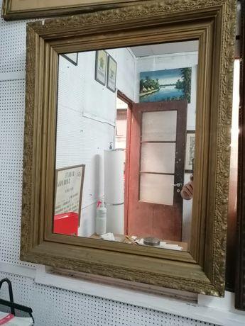 Espelho antigo madeira trabalhada 82x66cm
