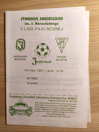 program meczowy Jagiellonia Białystok- Pogoń Szczecin 1991
