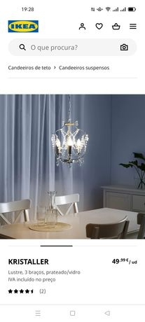 Candeeiro de teto/ suspenso, Kristaller, IKEA