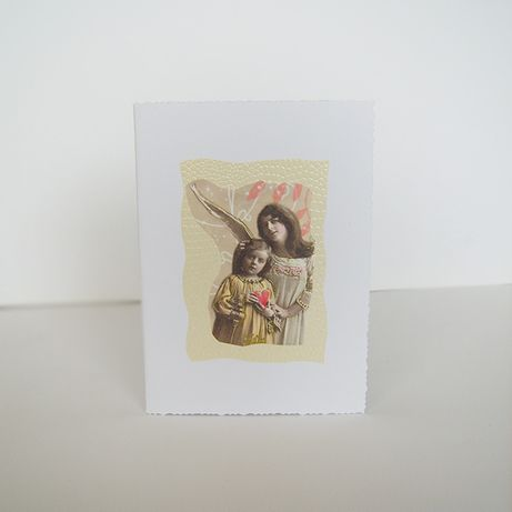 anioł kartka, kartka z aniołkiem, aniołek kartka, vintage kartka anioł