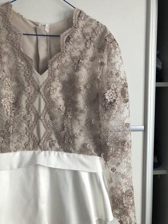 Sukienka koronkowa złoto - biała