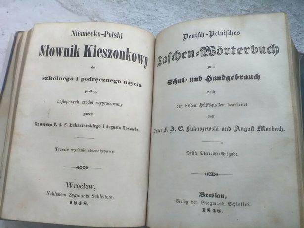 Antyk, zabytek, slownik polsko-niemiecki i niemiecko-polski z 1848r.