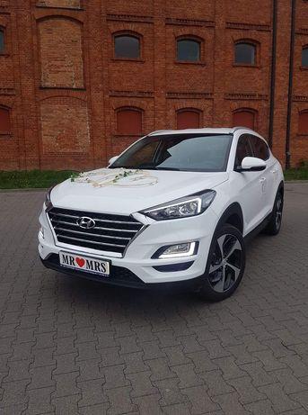 Auto samochód do ślubu hyundai tucson 2019 rok biala perła bialy SUV