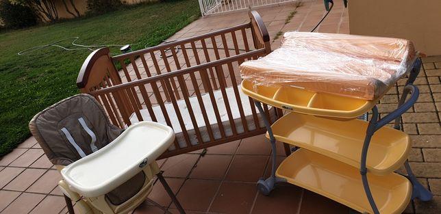 Conjunto (Cama + Troley + Cadeira + baloiço) bebé