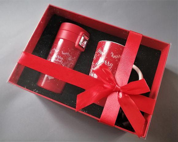 Kubek termiczny + kubek ceramiczny - Zestaw w pudełku - NOWY
