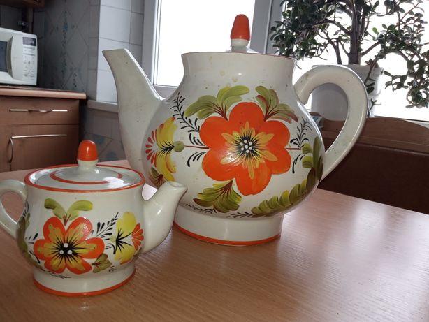 Чайник сувенирный, керамический заварник набор, сервиз, посуда