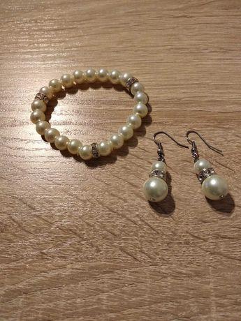 Bransoletka i kolczyki perełki, białe, tanie