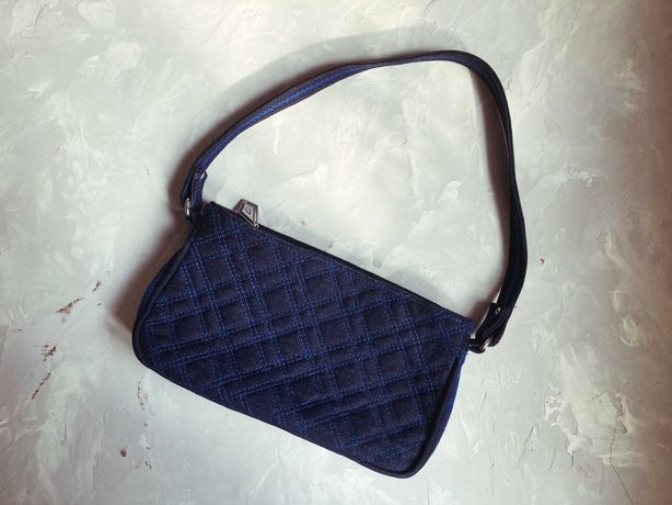Женская сумка-багет тёмно-синяя (ручная работа)