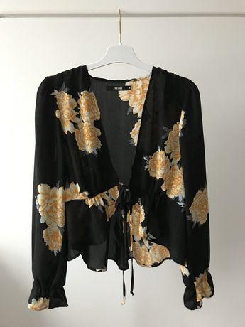 Bluzka w kwiaty na lato floral bufki wiązana BIK BOK vintage kimono