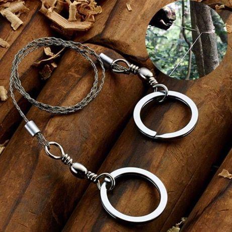 Походная туристистическая пила-струна с кольцами 60см
