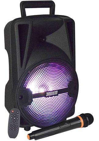 Coluna Portátil 8″ 300W PMPO USB/SD/BT/BAT/FM + 1 Microfone VHF