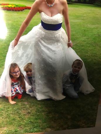 Suknia ślubna XS, S biała z welonem- gorsetowa z trenem.