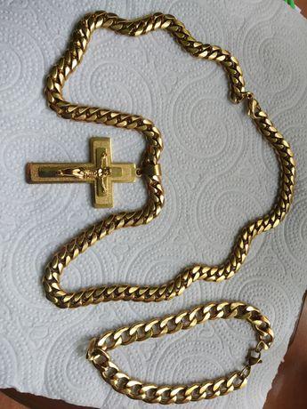 Łańcuszek pancerka z krzyżykiem i bransoletka męska