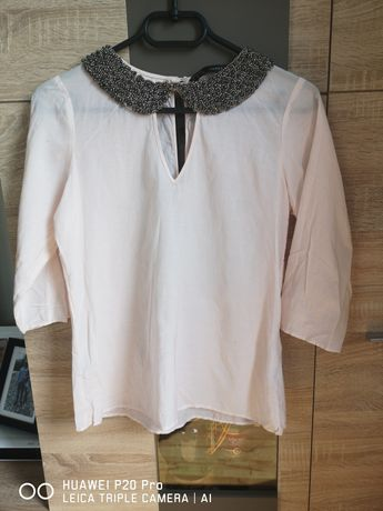 Bluzka koszula kołnierzem w korale Zara