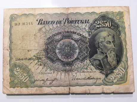 Nota Portugal 2,50 escudos 1920