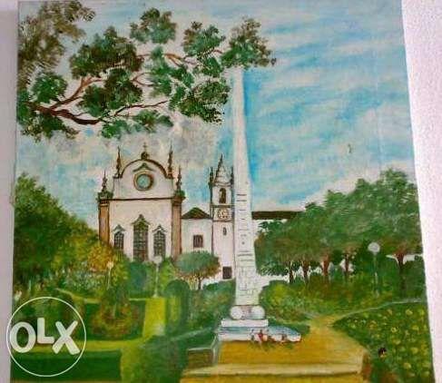 Quadro em óleo sobre tela muito antigo do J.Graça e obelisco Torres Ve