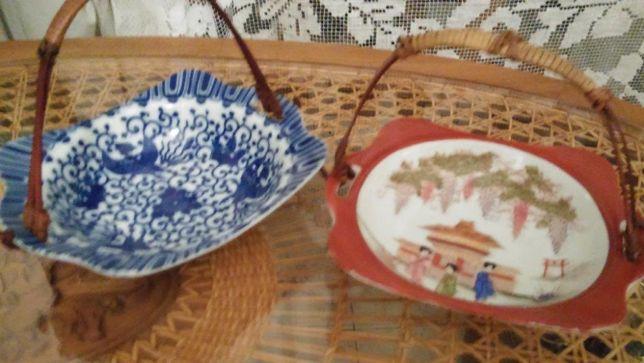 Boleiras chinesas antigas com pega de bambu