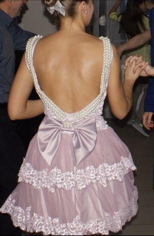 Sukienka ślub wesele wrzosowa z perłami młoda świadkowa mini