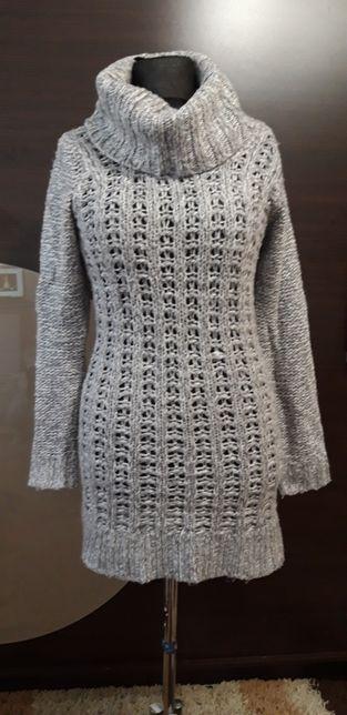 Długi szary sweter 38 M