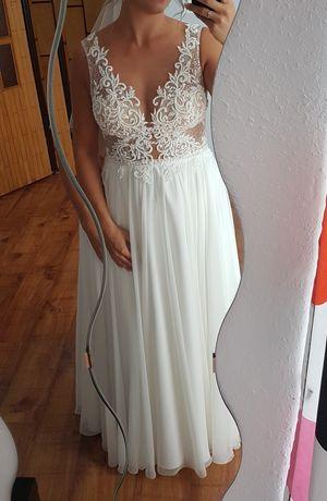 Suknia ślubna koronka muślin 40