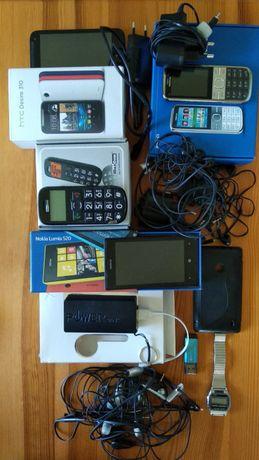 Zużyty i sprawny sprzęt elektroniczny: telefony ruter zegarek pendrive
