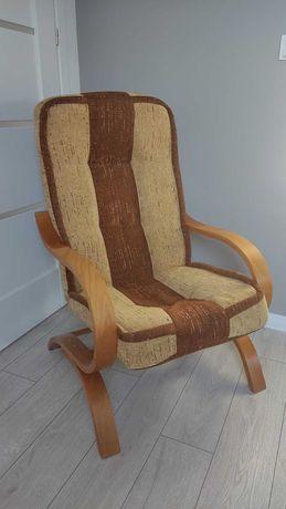 Fotel bujany krzesło tapicerowane (stan bdb)