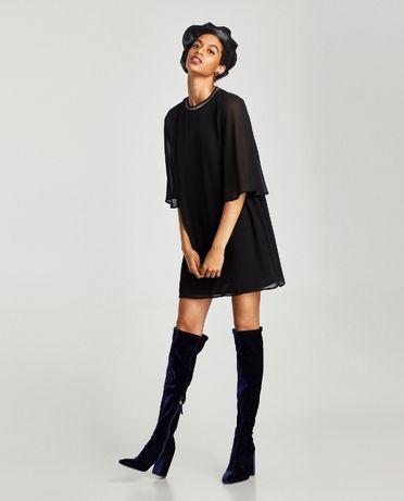 Zara nowa czarna sukienka z krepy z ozdobnym wykończeniem S
