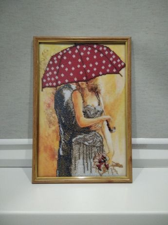 """Картина вышитая бисером """"Двое под зонтом"""""""
