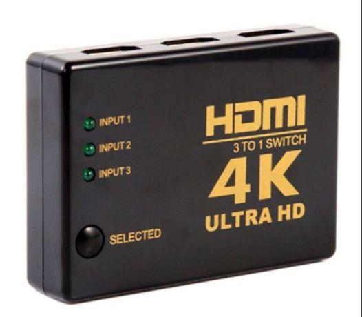 Разветвитель switch HDMI 4K (3 входа с переключателем, один выход)