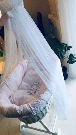 NOWY Kosz Mojżesza łóżeczko Amy baldachim - wersja limitowana - różow