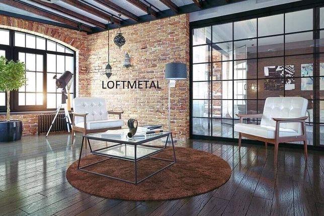 Zabudowy LOFTOWE, ścianki industrialne, meble loftowe, drzwi szklane,