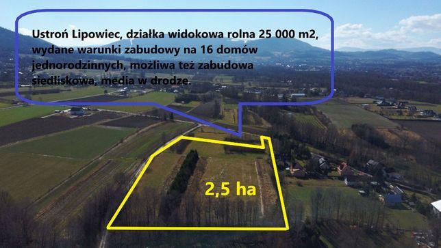 NOWA CENA - Ustroń, widokowa, siedlisko, 25 000 m2 z WZ na 16 domów