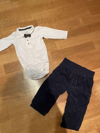 Нарядный костюм для мальчика 2-6 мес., бодик с бабочкой и штанишки