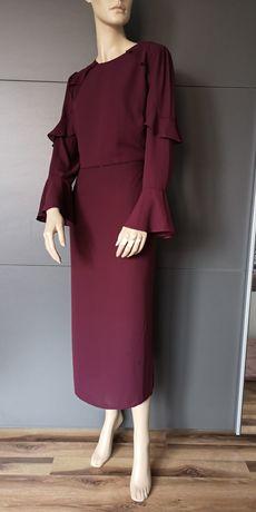 DUŻE ROZMIARY - Bordowa sukienka r. 42