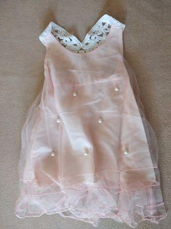 NOWA wizytowa, różowa sukienka dla dziewczynki 2-3 lata.