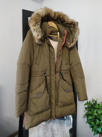 Zimowa długa ciepła kurtka płaszcz parka khaki futerko M 38