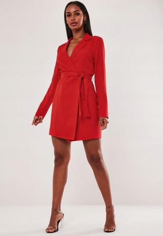 (40) ASOS/ Czerwona sukienka marynarkowa z paskiem/blezer/ NOWA