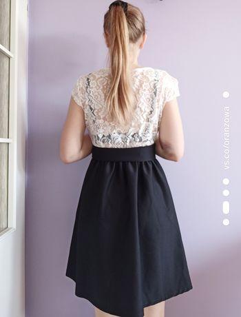 Sukienka koronka czarno-biała, rozmiar S/M