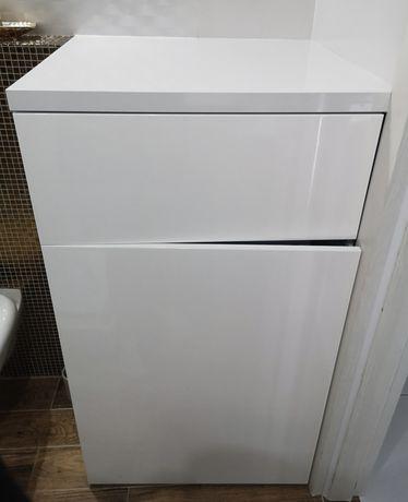 Szafka lakierowana na wysoki połysk biała pod pralkę szuflada