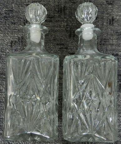 Karafki szklane kwadratowe, na wino napoje woda, duże, 20 cm wysokości