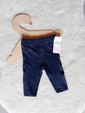 Marks & Spencer Baby nowe spodnie legginsy 62cm granatowe jeansy rurki