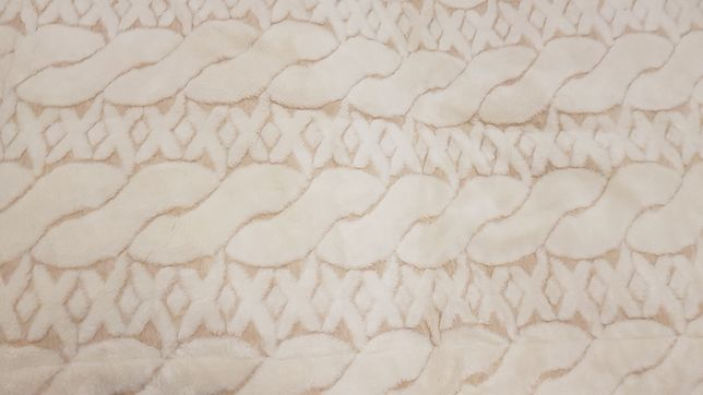 Pościel z wełny camela jasny + warkocz biały  140x200