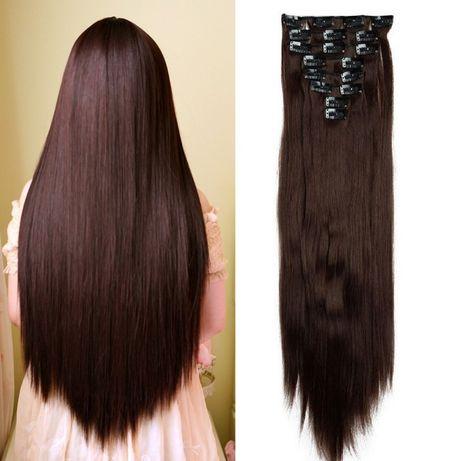 Doczepiane włosy clip in średni brąz 60 cm 8 tresek