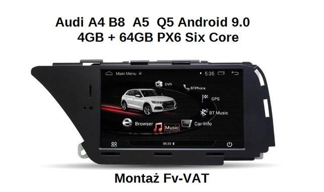Radio Nawigacja Audi A4B8 A5 Q5 Android 9.0 4+64GB Montaż F-vat