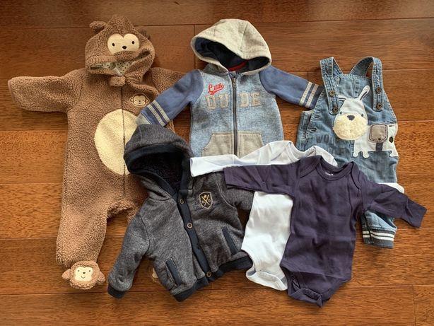 Wyprawka dla chłopca: bluza kombinezony ogrodniczki body 3-6 msc