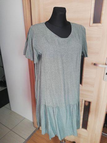 Sukienka zielona w prążki XL