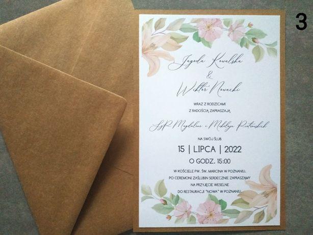 Zaproszenia jedna karta lilia