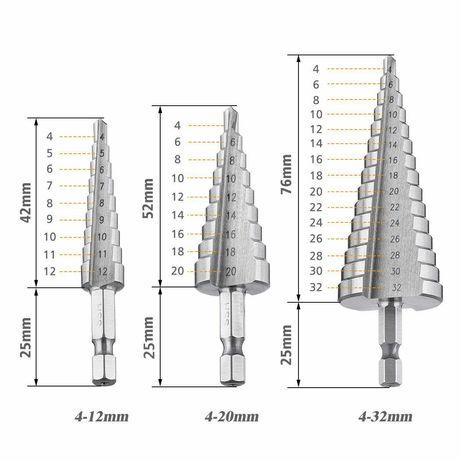 Brocas conicas HSS - conjunto de 3